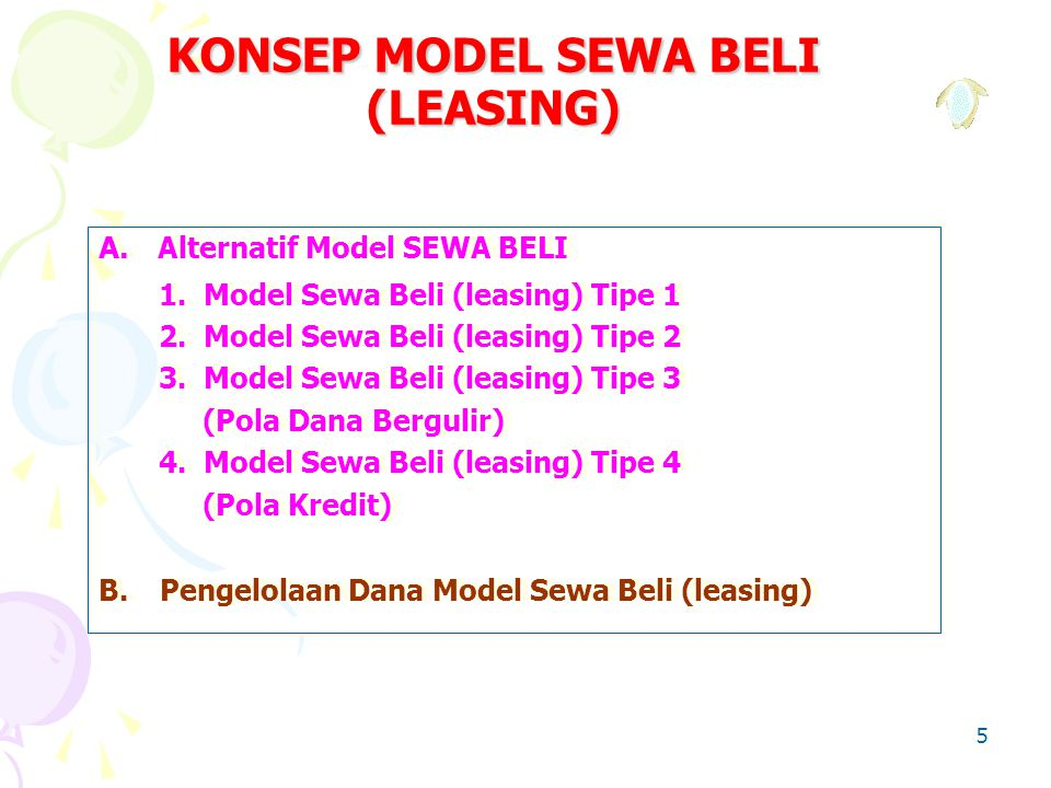 KONSEP MODEL SEWA BELI (LEASING)