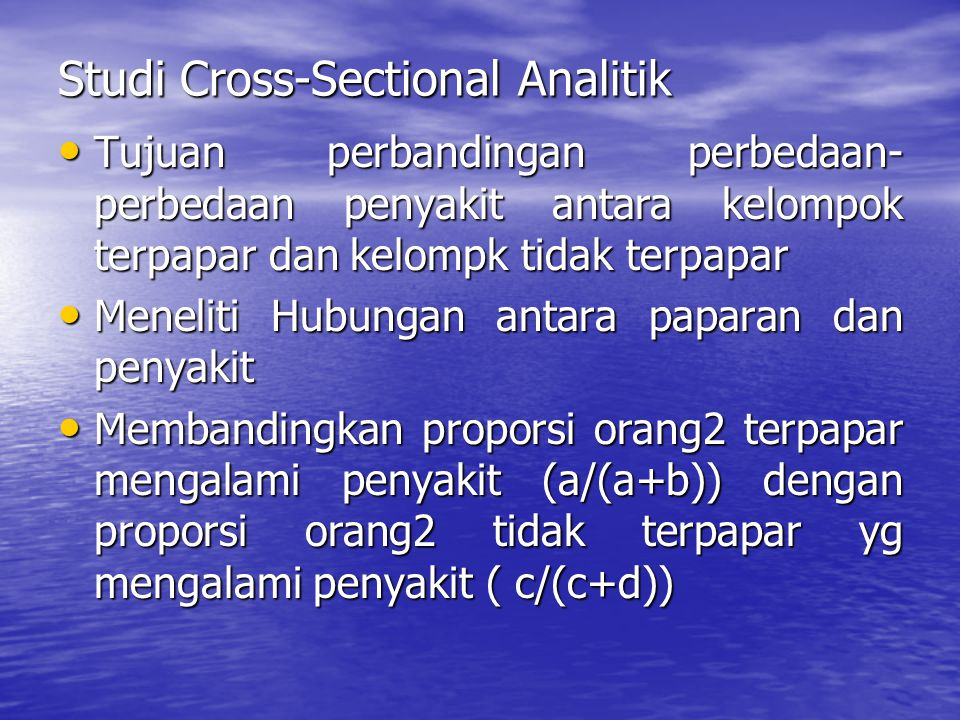 Studi Cross-Sectional Analitik