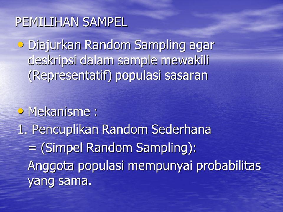 PEMILIHAN SAMPEL Diajurkan Random Sampling agar deskripsi dalam sample mewakili (Representatif) populasi sasaran.