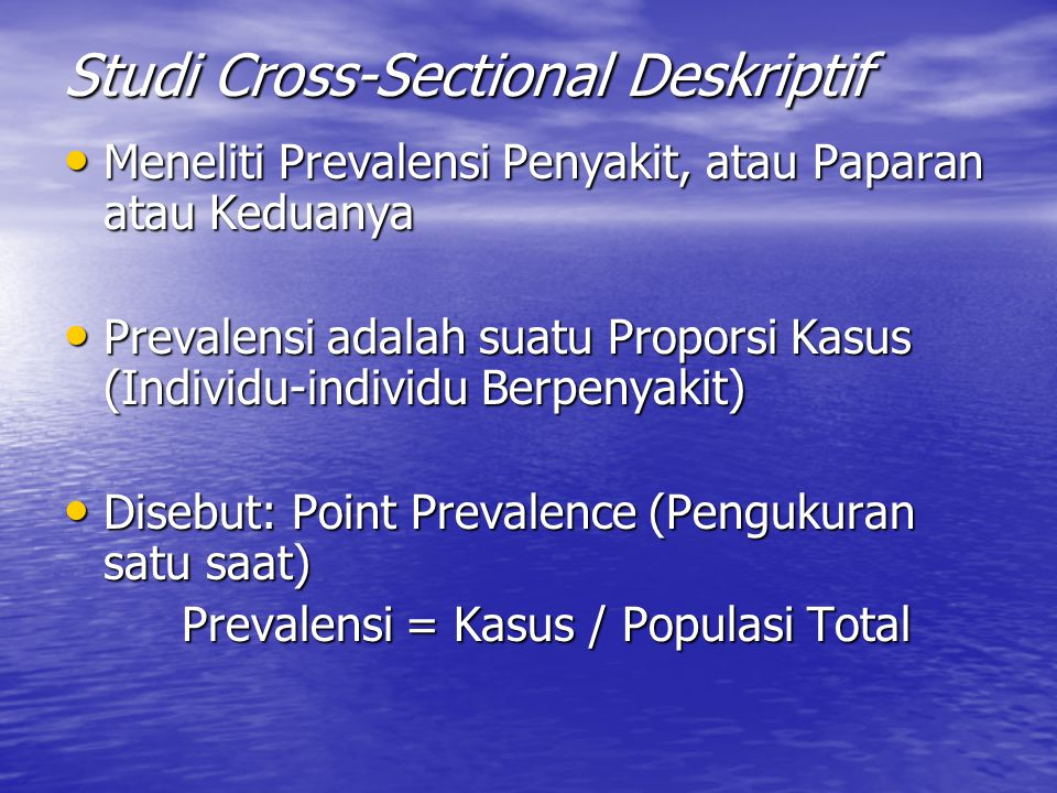 Studi Cross-Sectional Deskriptif