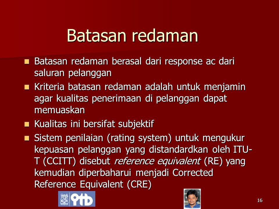 Batasan redaman Batasan redaman berasal dari response ac dari saluran pelanggan.