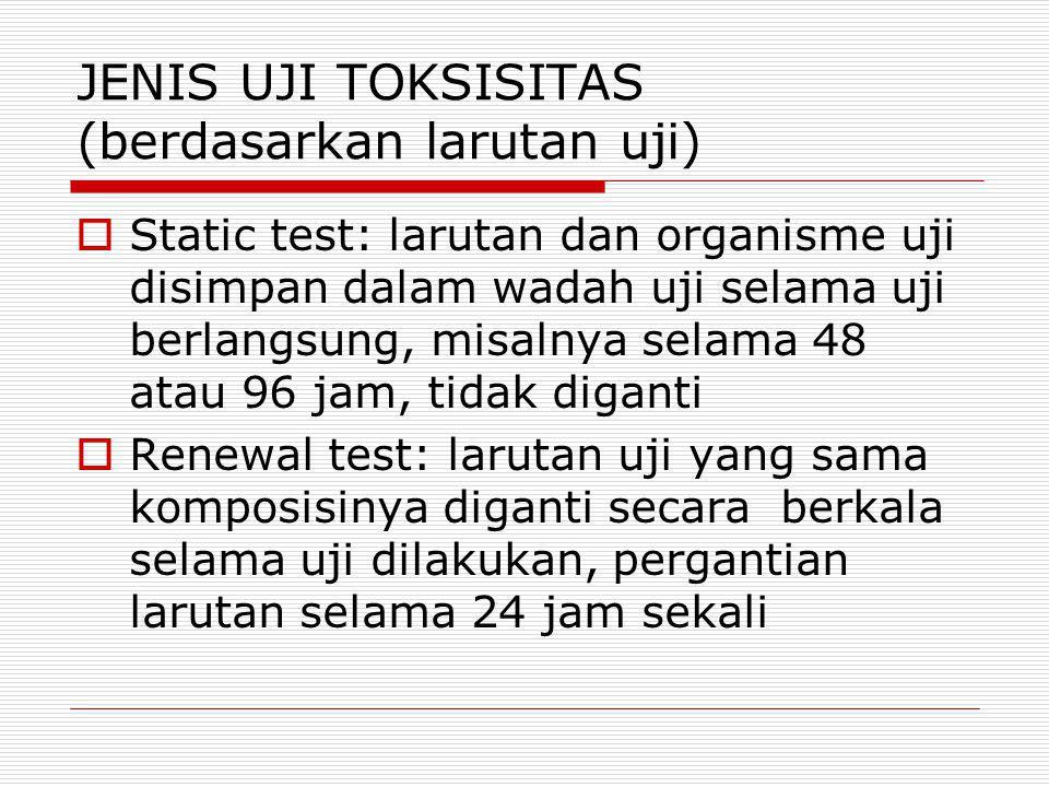 JENIS UJI TOKSISITAS (berdasarkan larutan uji)