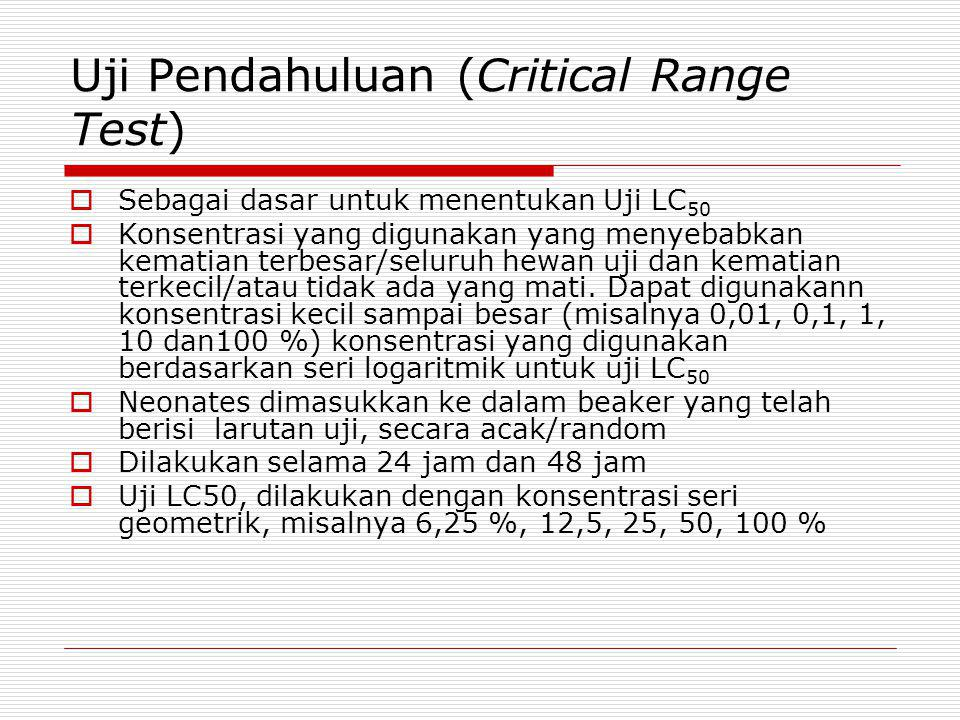 Uji Pendahuluan (Critical Range Test)