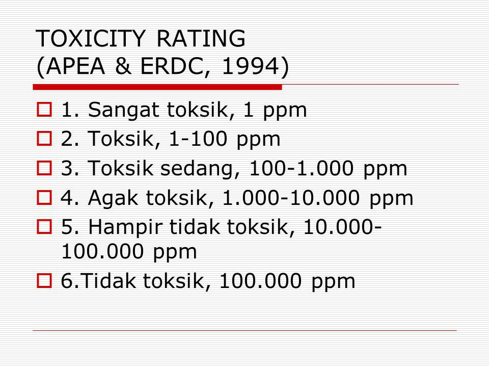TOXICITY RATING (APEA & ERDC, 1994)