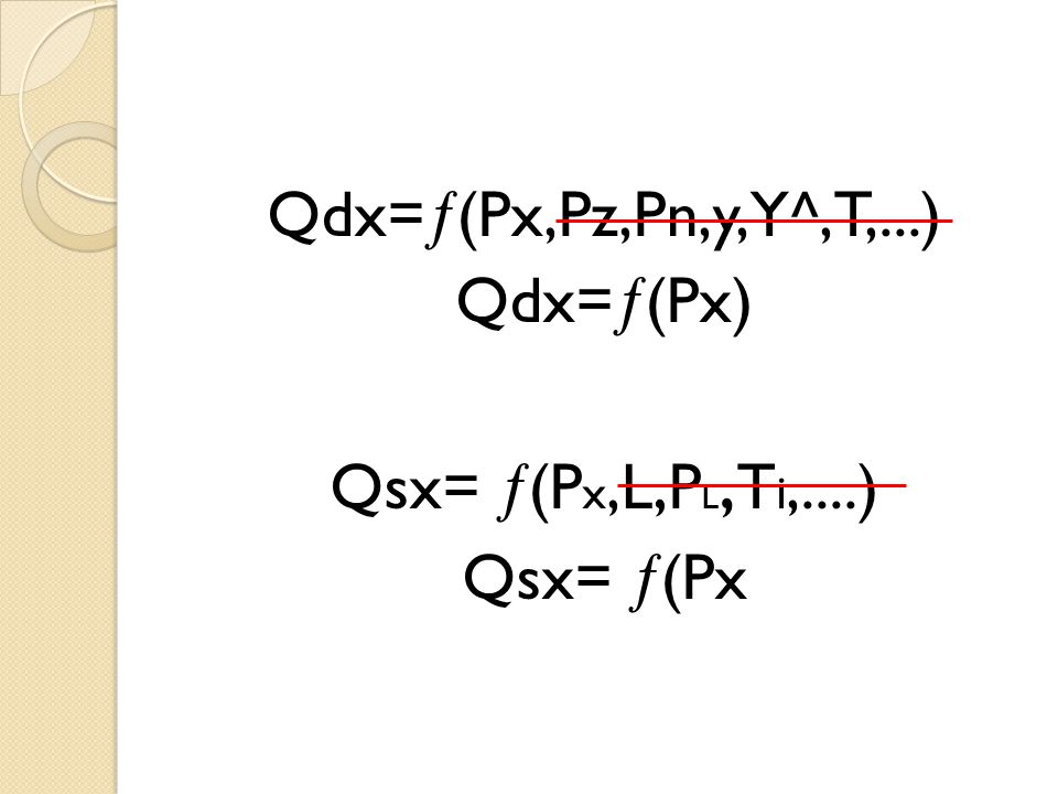 Qdx=(Px,Pz,Pn,y,Y^,T,...) Qdx=(Px) Qsx= (Px,L,PL,Ti,....) Qsx= (Px