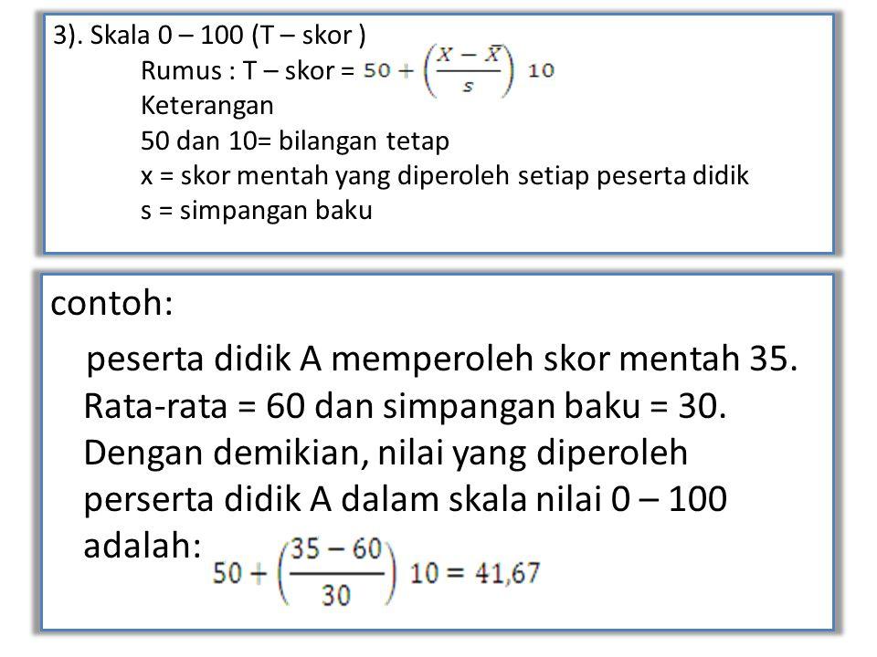 3). Skala 0 – 100 (T – skor ). Rumus : T – skor =. Keterangan