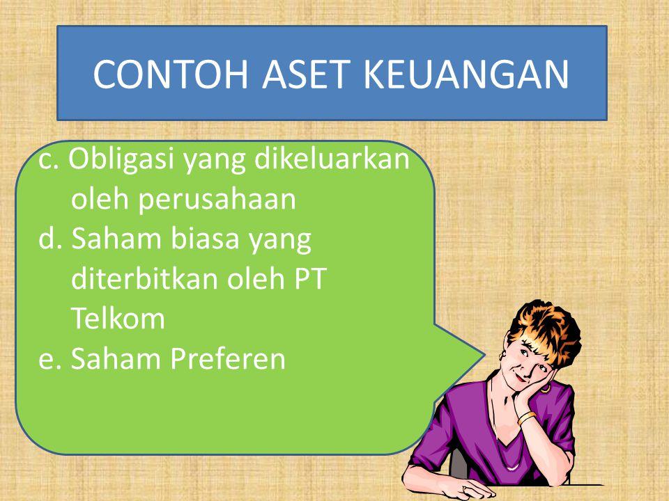 CONTOH ASET KEUANGAN c. Obligasi yang dikeluarkan oleh perusahaan