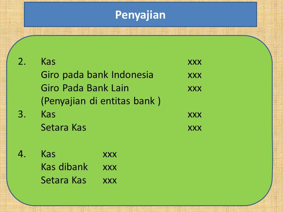 Penyajian Kas xxx Giro pada bank Indonesia xxx Giro Pada Bank Lain xxx