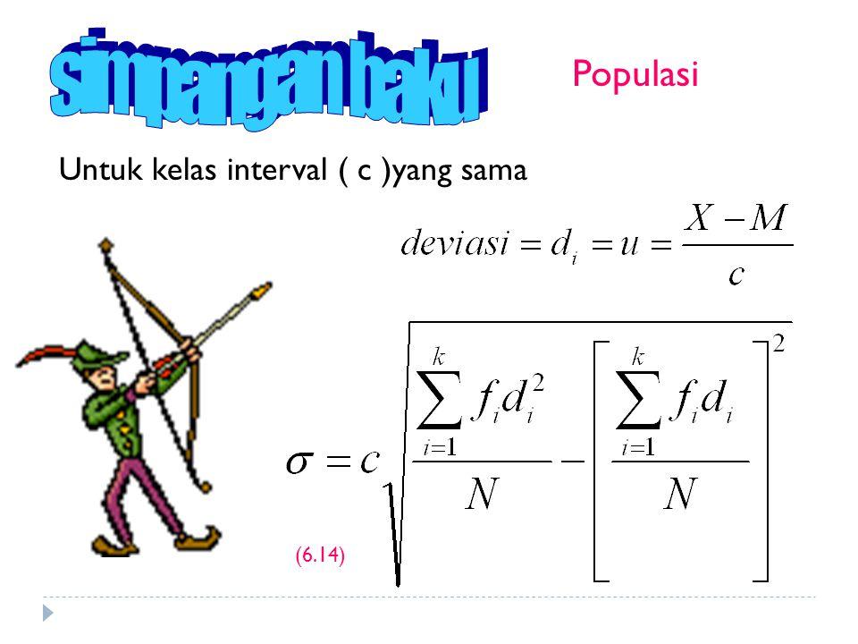 simpangan baku Populasi Untuk kelas interval ( c )yang sama (6.14)