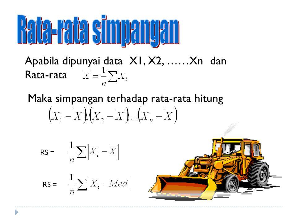 Rata-rata simpangan Apabila dipunyai data X1, X2, ……Xn dan Rata-rata