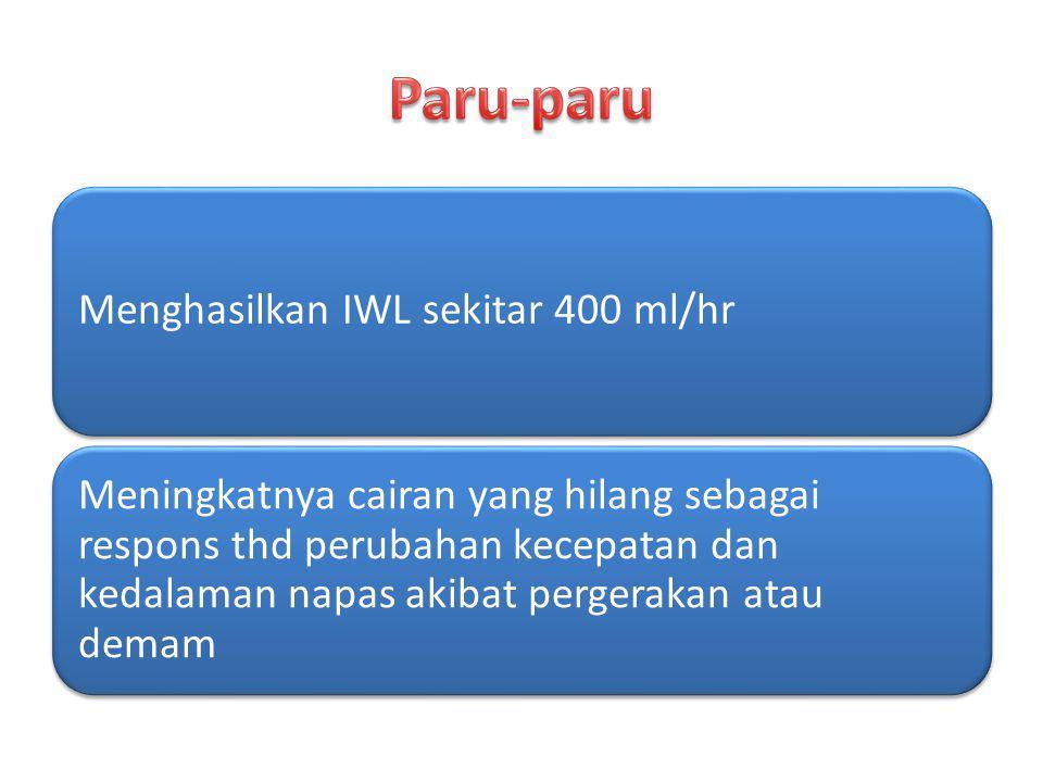 Paru-paru Menghasilkan IWL sekitar 400 ml/hr