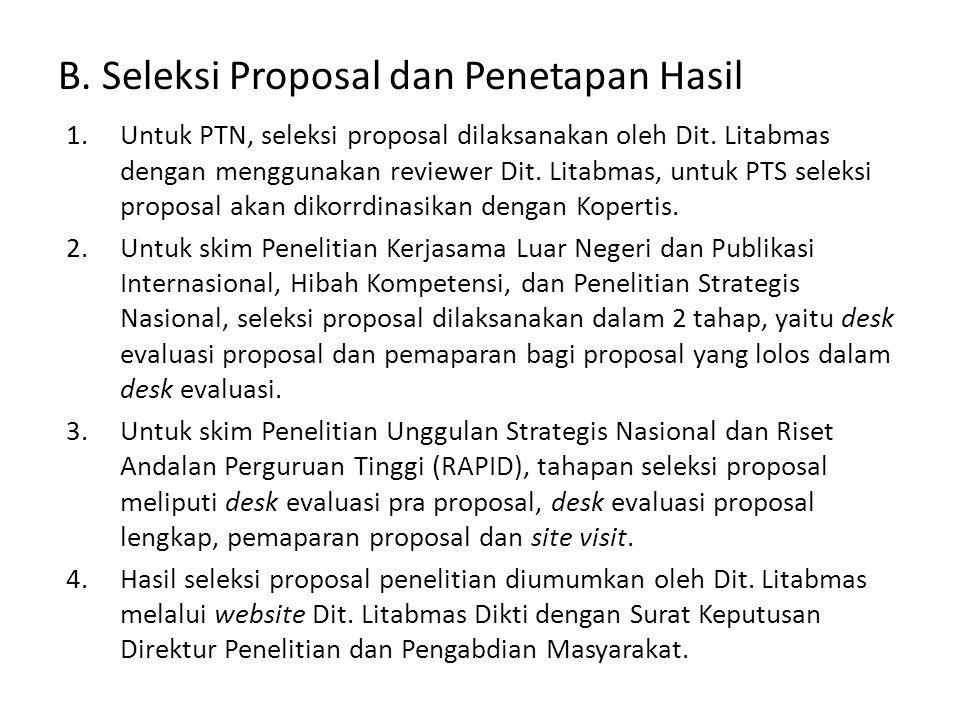 B. Seleksi Proposal dan Penetapan Hasil