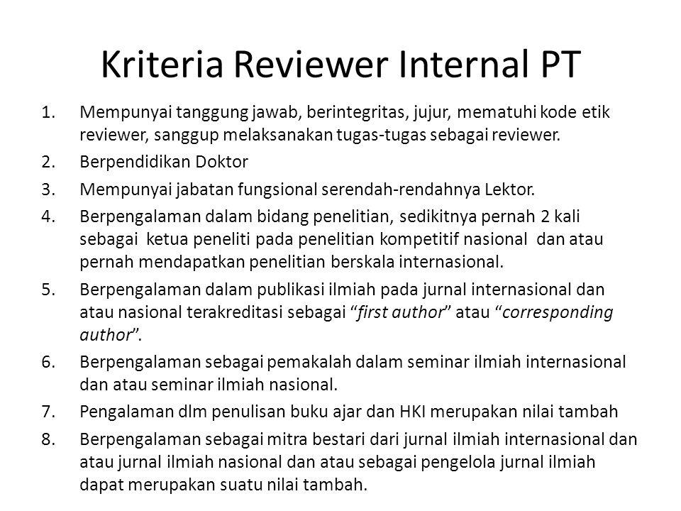 Kriteria Reviewer Internal PT