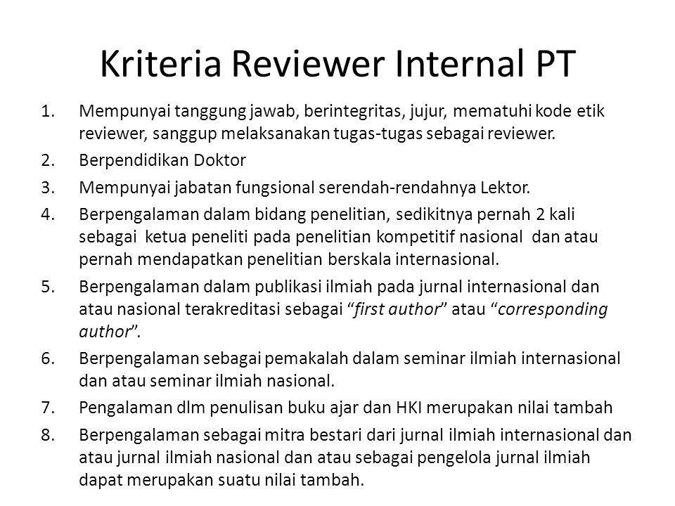 Kriteria Reviewer Internal PT