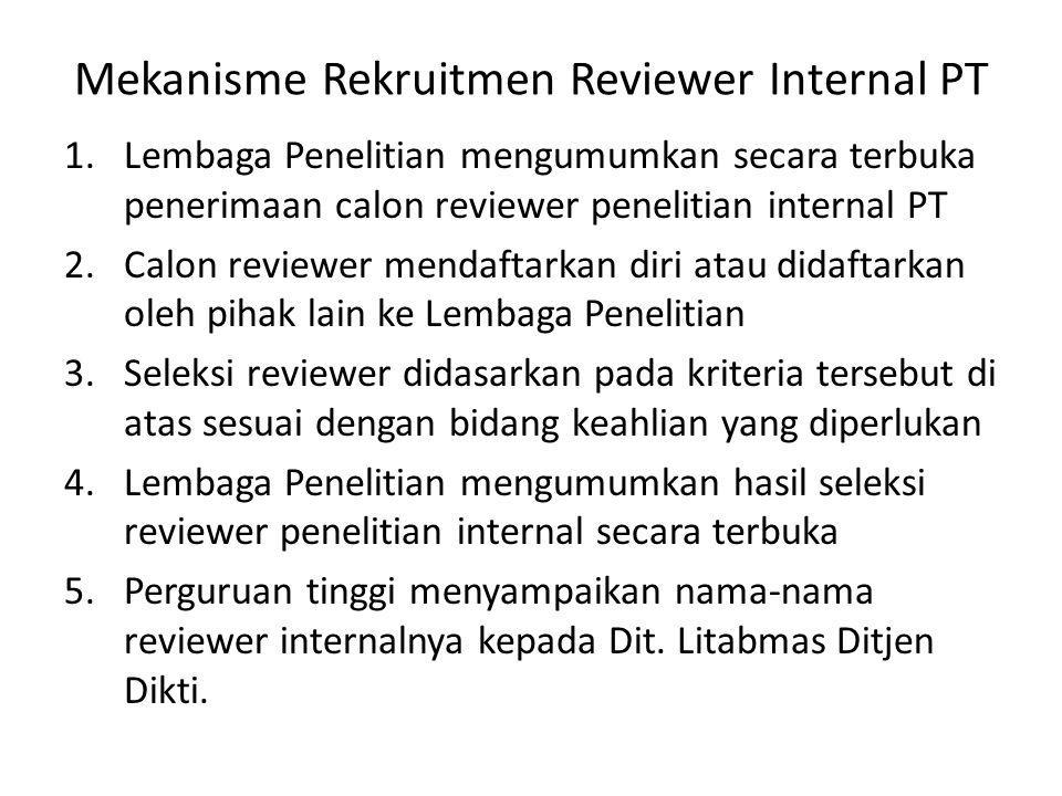 Mekanisme Rekruitmen Reviewer Internal PT