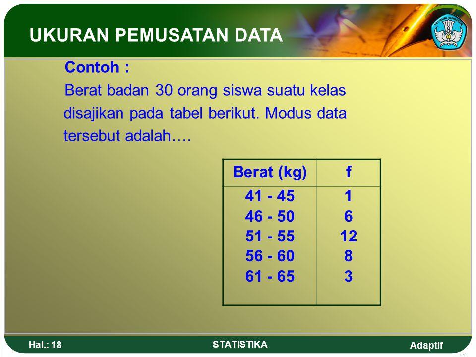 UKURAN PEMUSATAN DATA Contoh : Berat badan 30 orang siswa suatu kelas