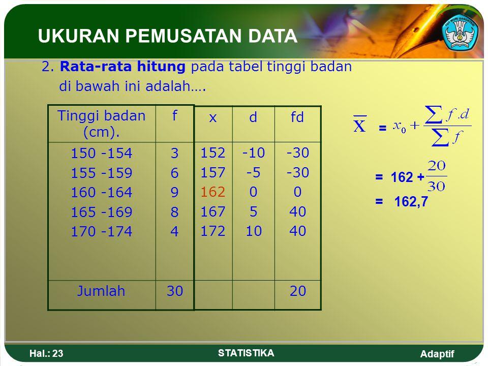 UKURAN PEMUSATAN DATA 2. Rata-rata hitung pada tabel tinggi badan