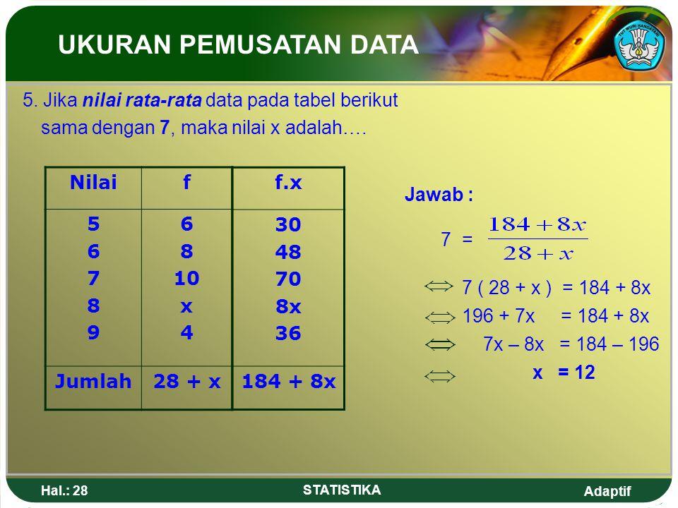 UKURAN PEMUSATAN DATA 5. Jika nilai rata-rata data pada tabel berikut