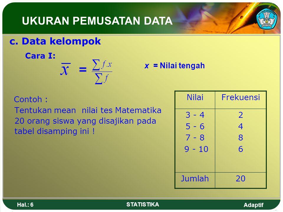 UKURAN PEMUSATAN DATA Cara I: = Contoh : c. Data kelompok