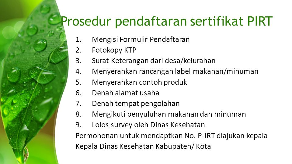 Prosedur pendaftaran sertifikat PIRT