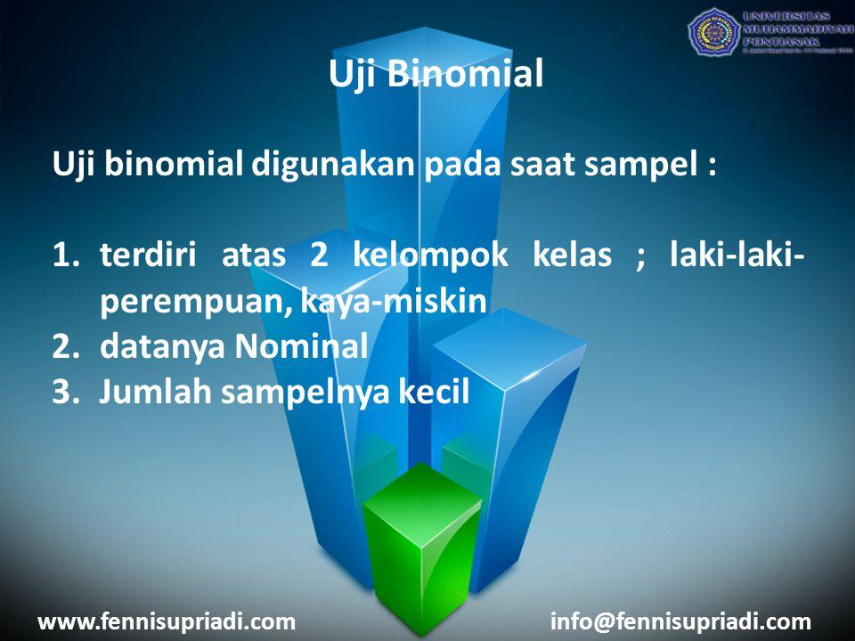 Uji Binomial Uji binomial digunakan pada saat sampel :