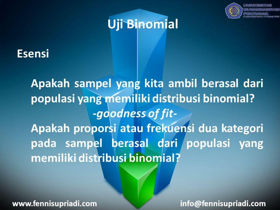 Uji Binomial Esensi. Apakah sampel yang kita ambil berasal dari populasi yang memiliki distribusi binomial