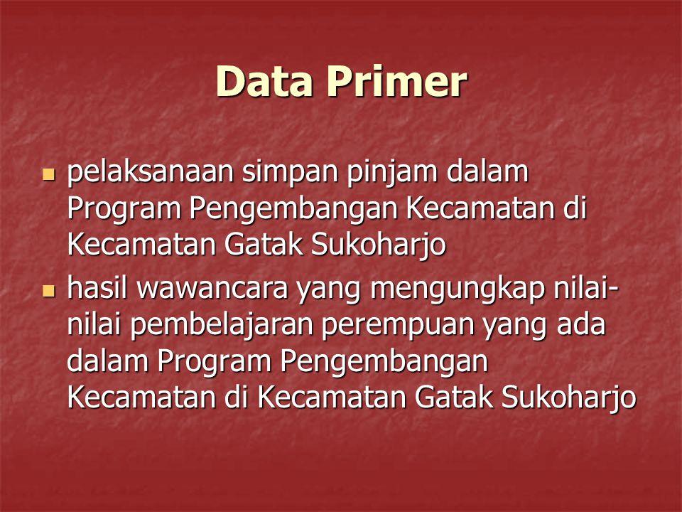 Data Primer pelaksanaan simpan pinjam dalam Program Pengembangan Kecamatan di Kecamatan Gatak Sukoharjo.