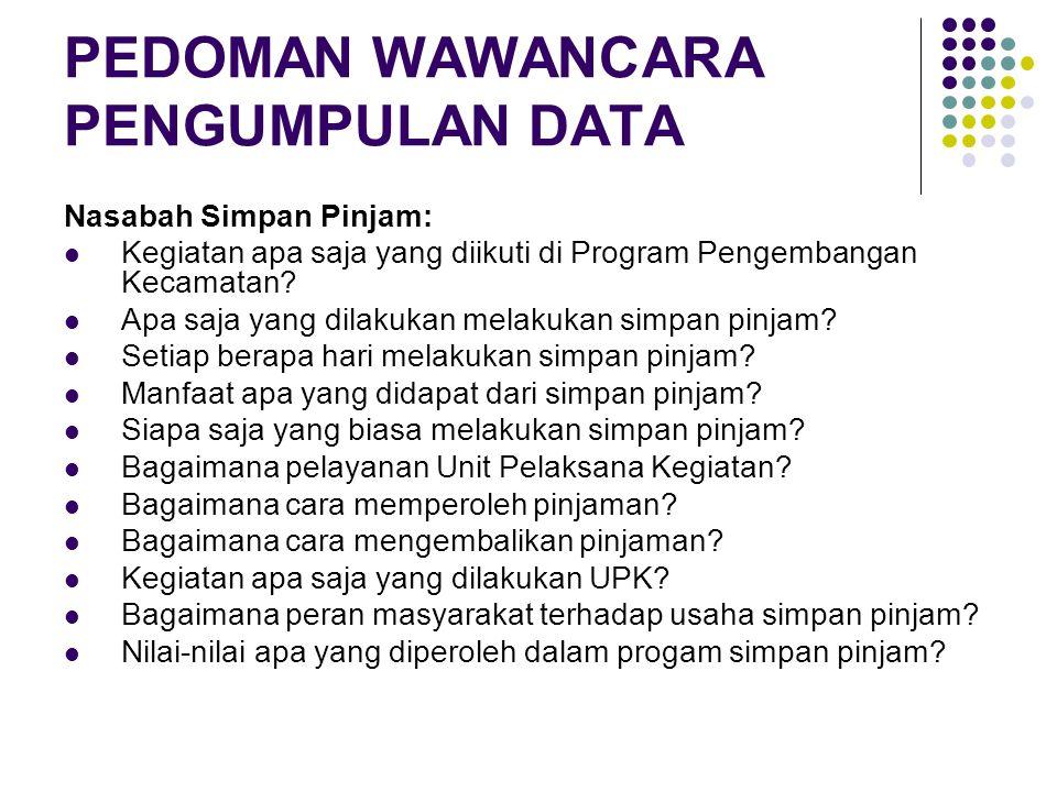 PEDOMAN WAWANCARA PENGUMPULAN DATA