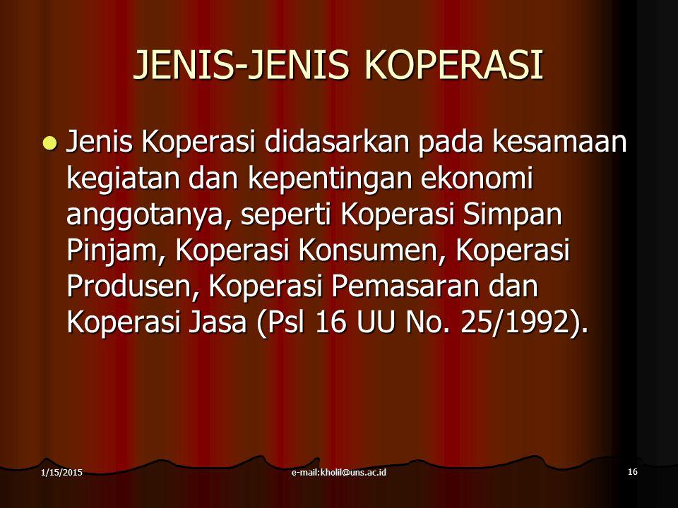 JENIS-JENIS KOPERASI
