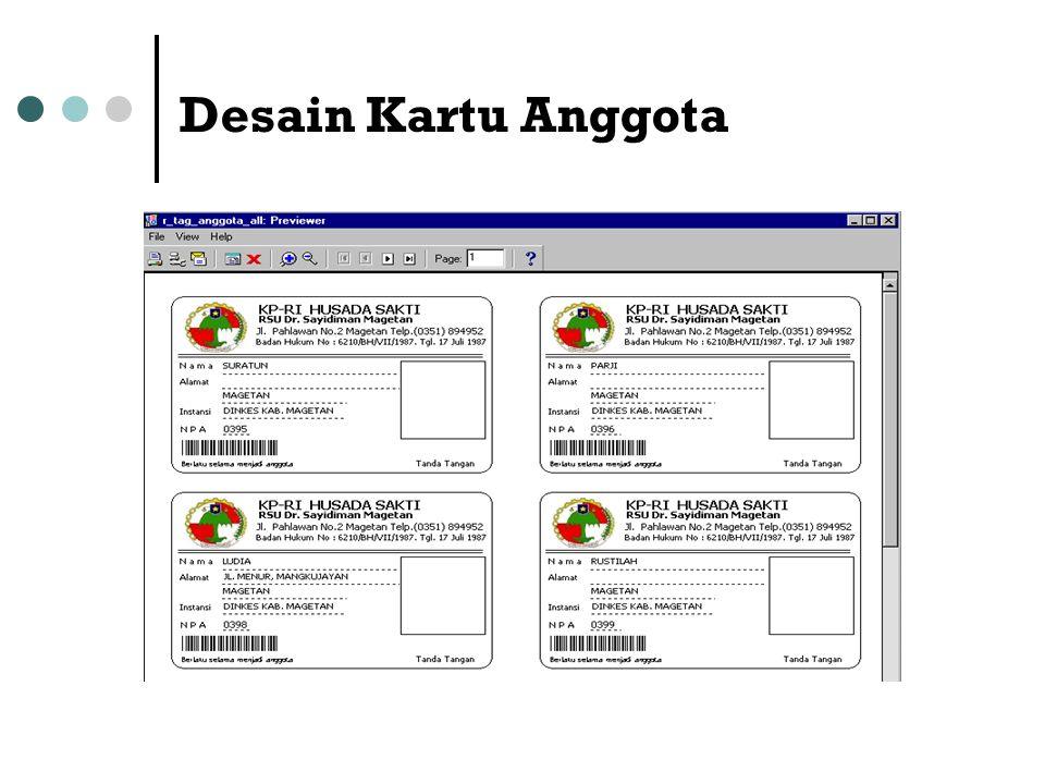 Desain Kartu Anggota