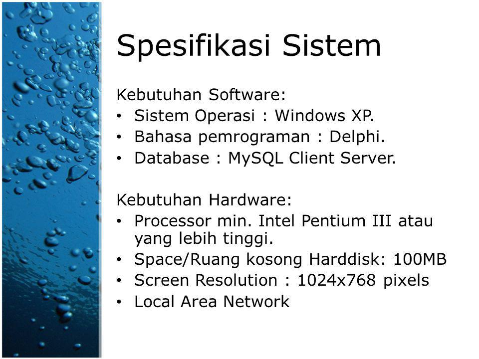 Spesifikasi Sistem Kebutuhan Software: Sistem Operasi : Windows XP.