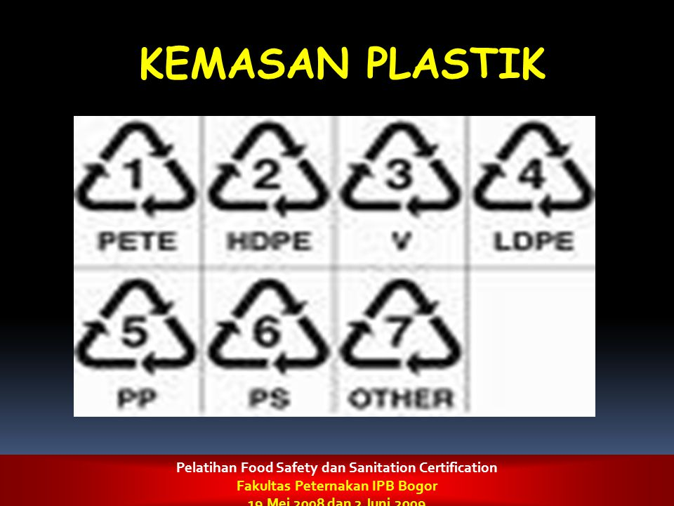 KEMASAN PLASTIK Pelatihan Food Safety dan Sanitation Certification