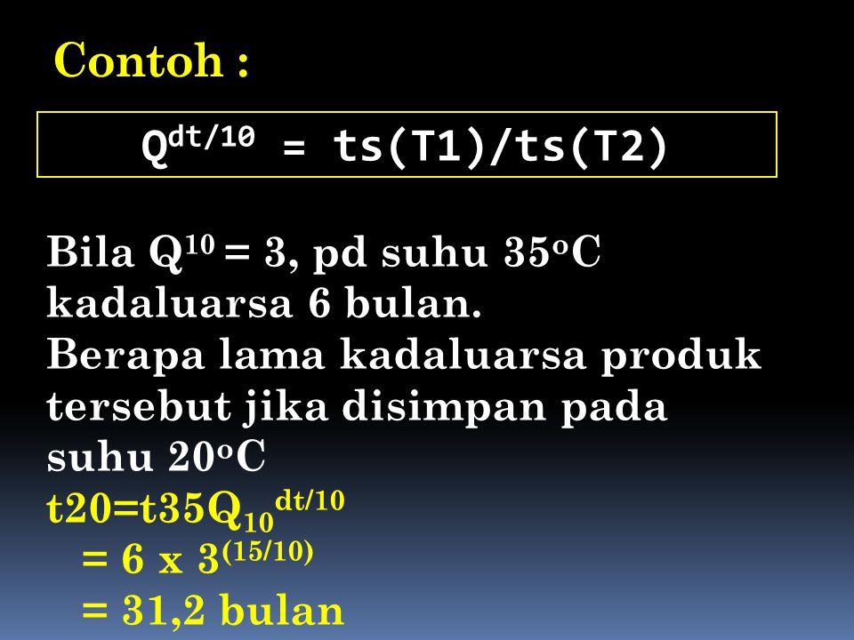 Contoh : Qdt/10 = ts(T1)/ts(T2)