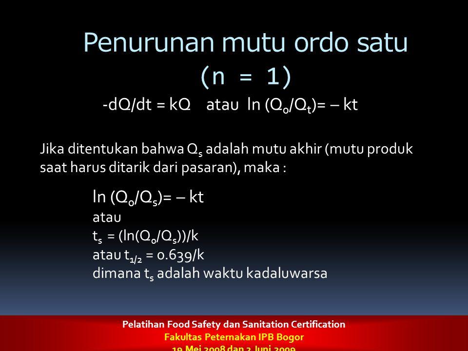 Penurunan mutu ordo satu (n = 1)