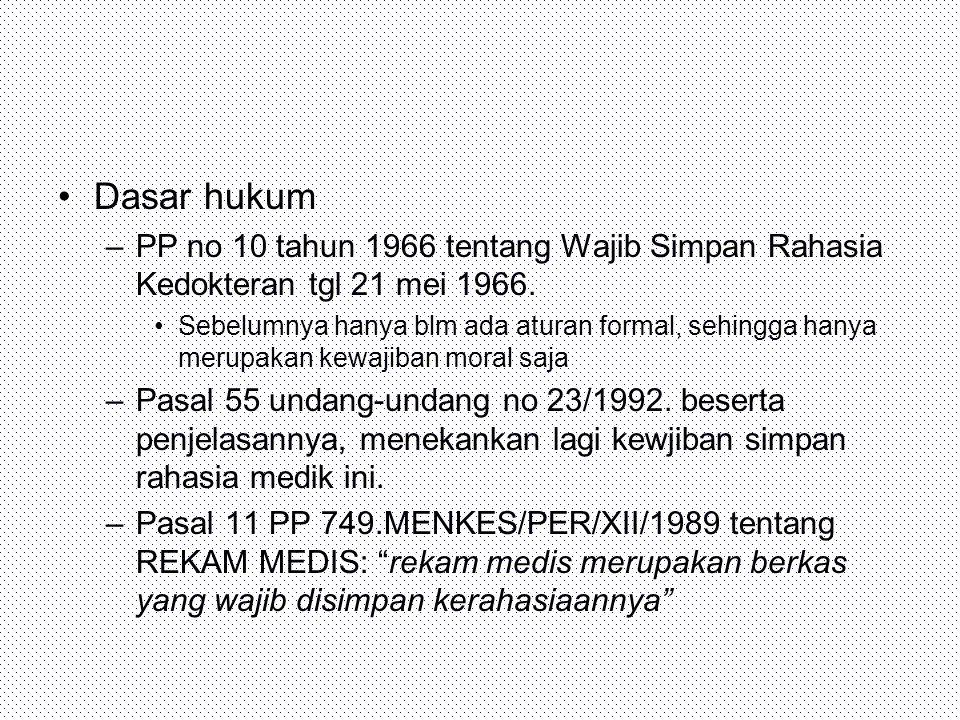 Dasar hukum PP no 10 tahun 1966 tentang Wajib Simpan Rahasia Kedokteran tgl 21 mei 1966.