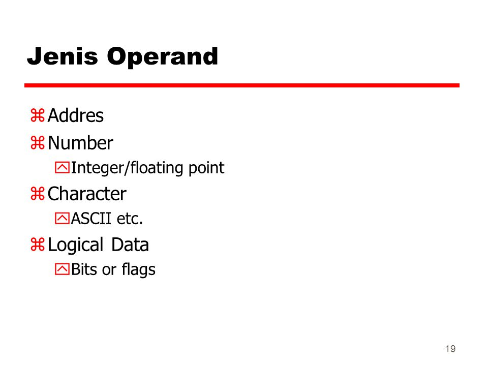 Jenis Operand Addres Number Character Logical Data