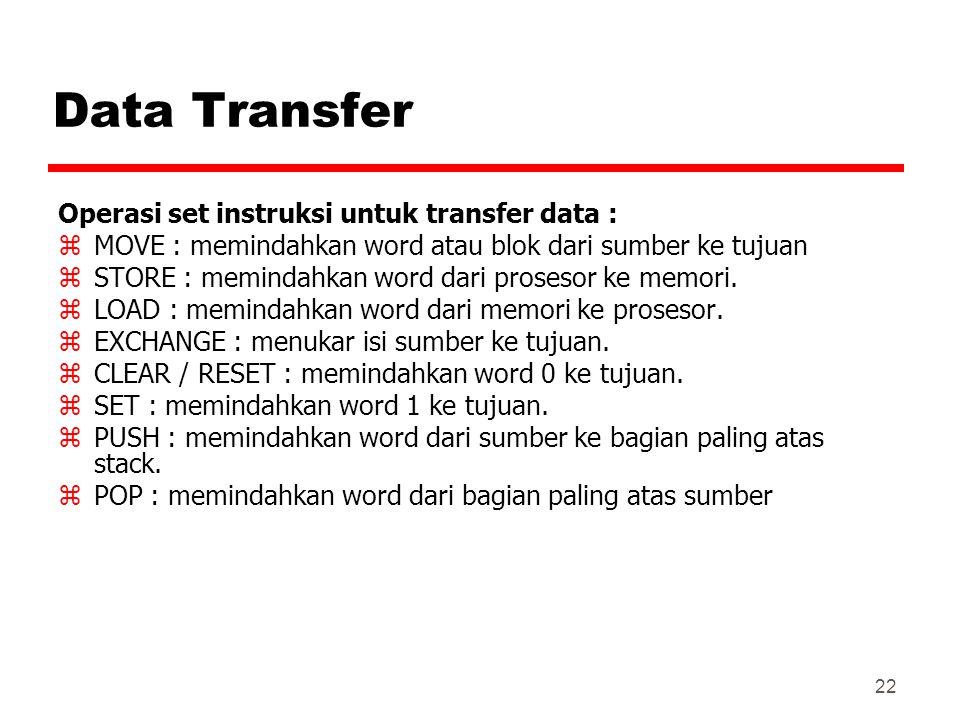 Data Transfer Operasi set instruksi untuk transfer data :