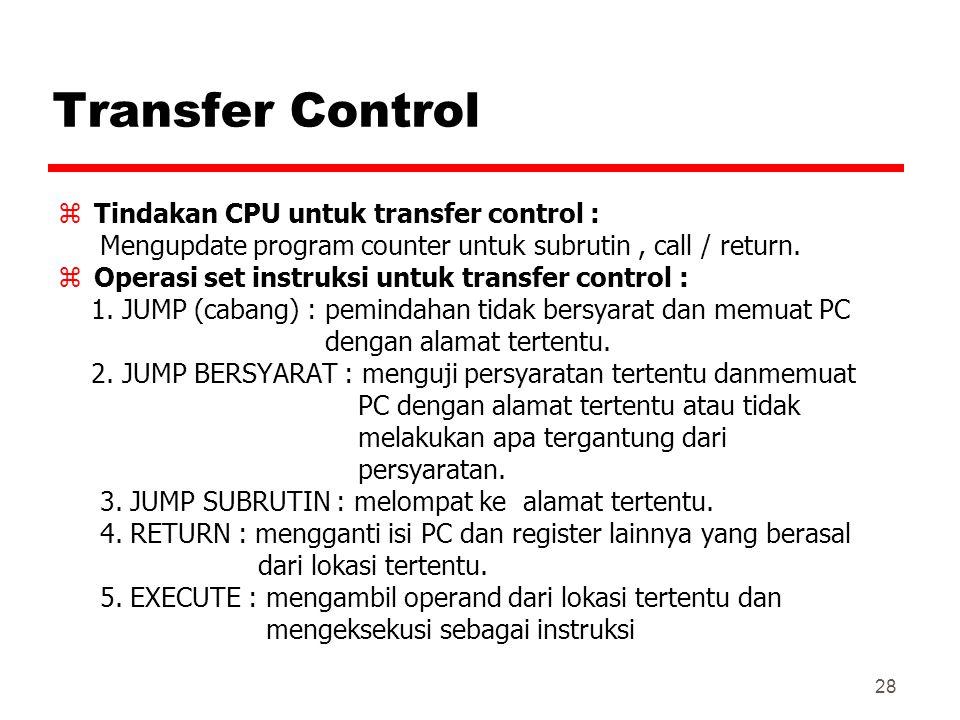 Transfer Control Tindakan CPU untuk transfer control :