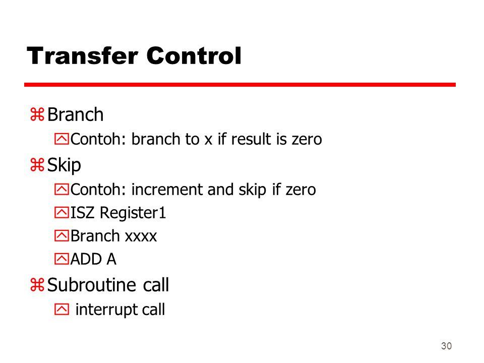 Transfer Control Branch Skip Subroutine call