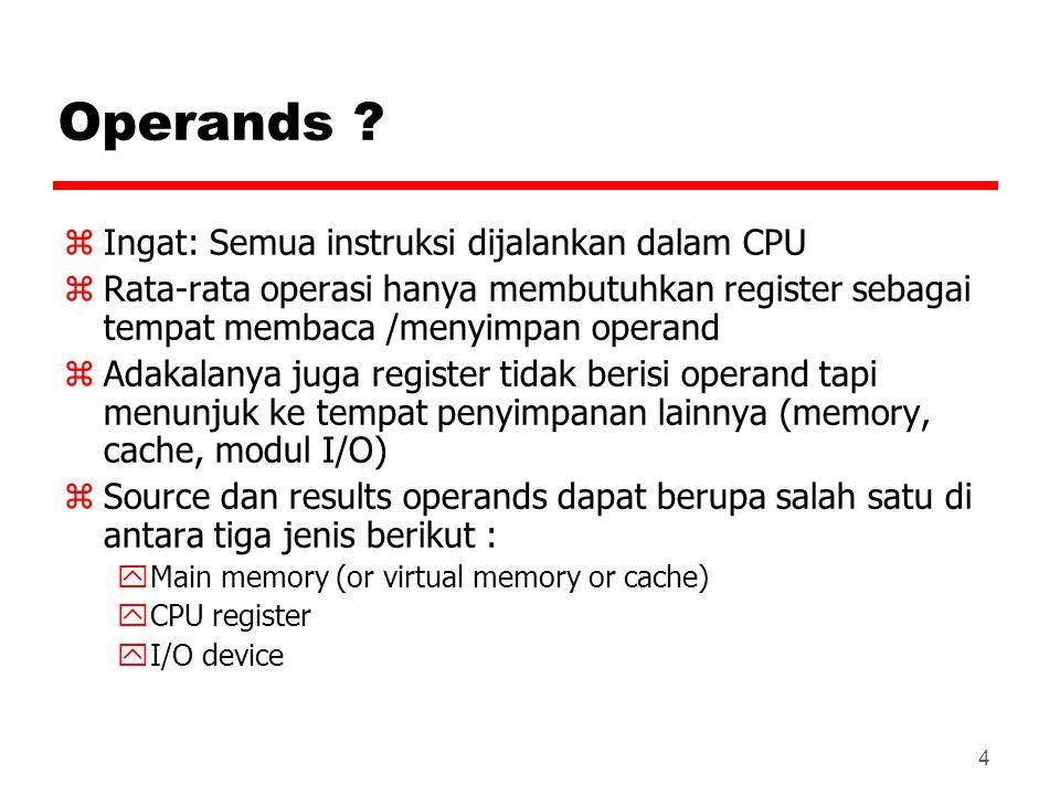 Operands Ingat: Semua instruksi dijalankan dalam CPU