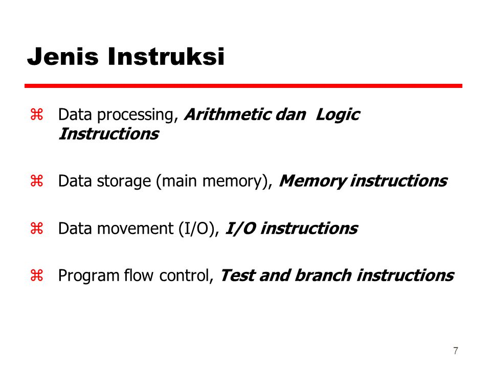 Jenis Instruksi Data processing, Arithmetic dan Logic Instructions