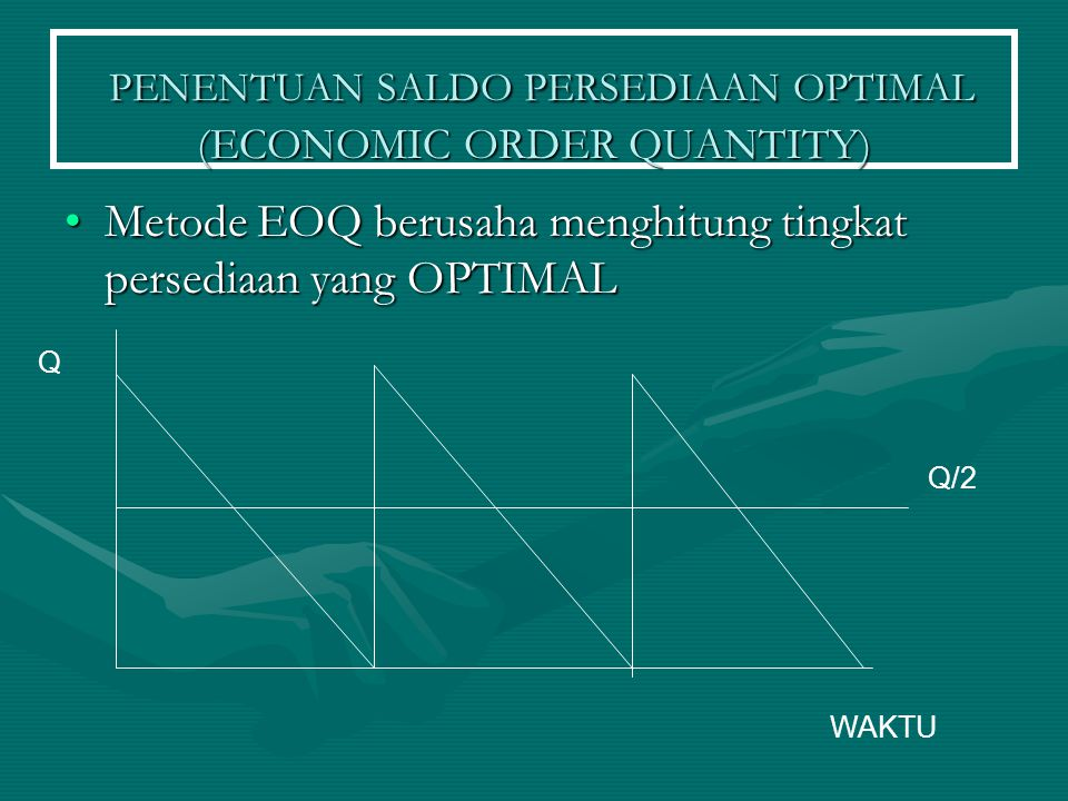 PENENTUAN SALDO PERSEDIAAN OPTIMAL (ECONOMIC ORDER QUANTITY)