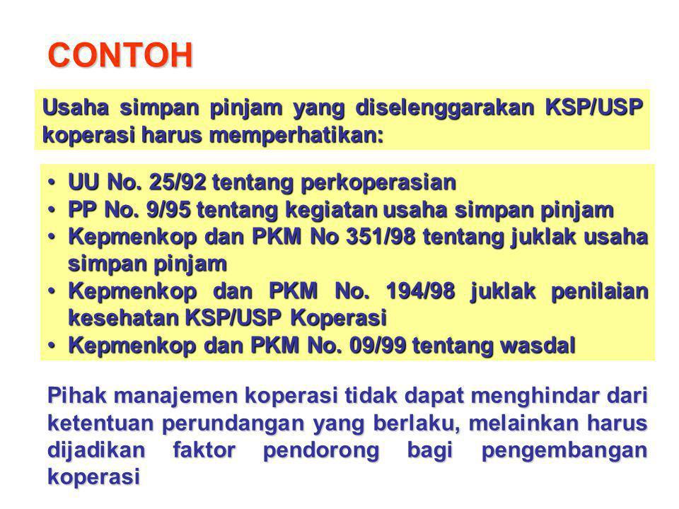 CONTOH Usaha simpan pinjam yang diselenggarakan KSP/USP koperasi harus memperhatikan: UU No. 25/92 tentang perkoperasian.