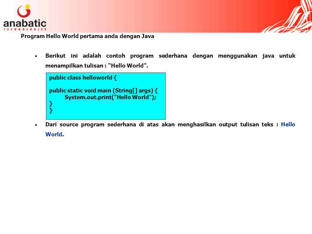 Program Hello World pertama anda dengan Java