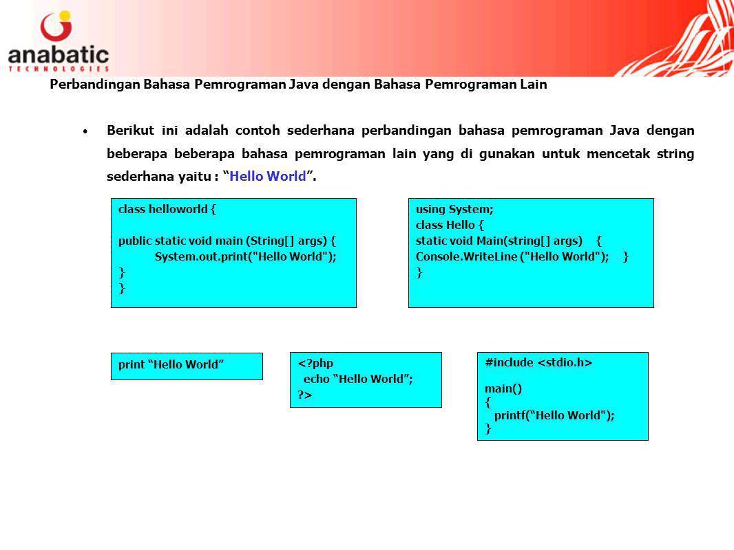 Perbandingan Bahasa Pemrograman Java dengan Bahasa Pemrograman Lain