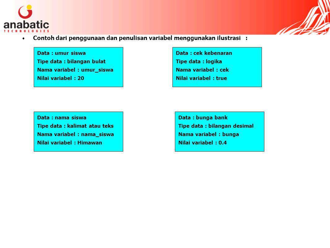 Contoh dari penggunaan dan penulisan variabel menggunakan ilustrasi :