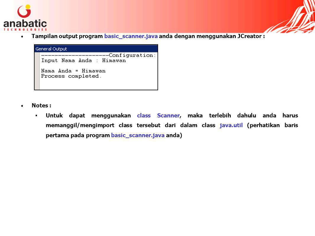 Tampilan output program basic_scanner