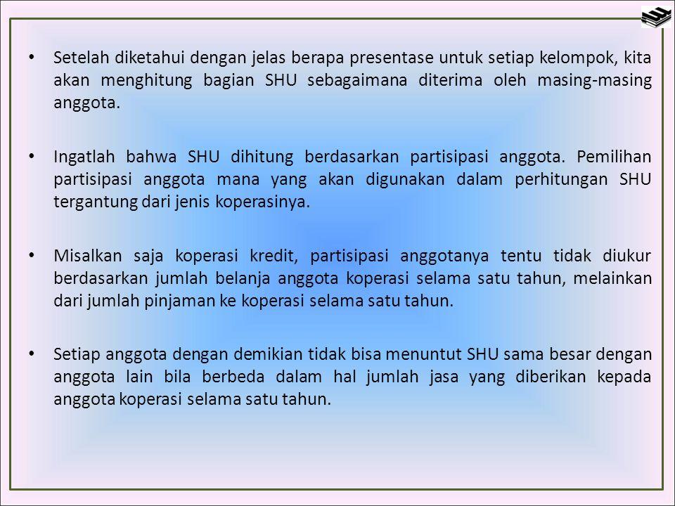 Setelah diketahui dengan jelas berapa presentase untuk setiap kelompok, kita akan menghitung bagian SHU sebagaimana diterima oleh masing-masing anggota.