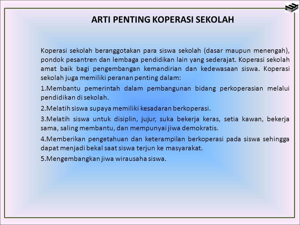 ARTI PENTING KOPERASI SEKOLAH