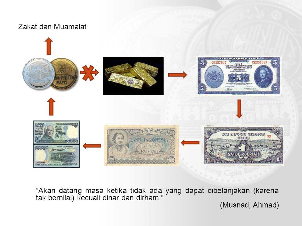 Zakat dan Muamalat Akan datang masa ketika tidak ada yang dapat dibelanjakan (karena tak bernilai) kecuali dinar dan dirham.